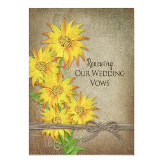 更新の結婚式誓約の招待状-ヒマワリ 12.7 X 17.8 インビテーションカード