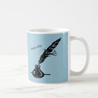 書いて下さい! 淡いブルーのクイルインクコーヒーカップの作家 コーヒーマグカップ