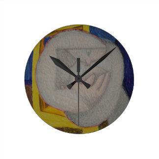 書見台付き椅子 ラウンド壁時計
