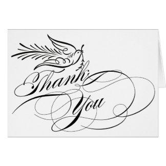書道の原稿の鳩は感謝していしています カード