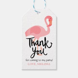 書道の熱帯ピンクのフラミンゴありがとう ギフトタグパック