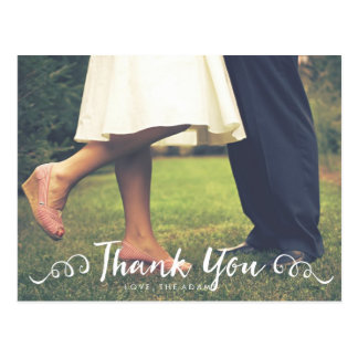 書道の結婚式の写真のサンキューカード ポストカード