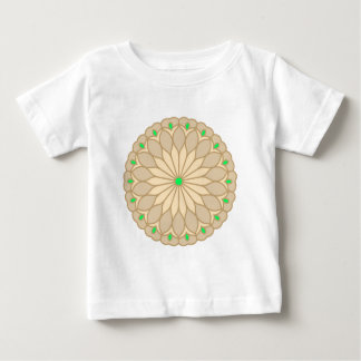 曼荼羅によってインスパイア淡い色のなベージュ花 ベビーTシャツ