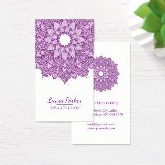 曼荼羅のはすの花のヨガの黙想の紫色 名刺