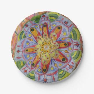 曼荼羅のカラフルな芸術のカスタムな紙皿7 inに ペーパープレート
