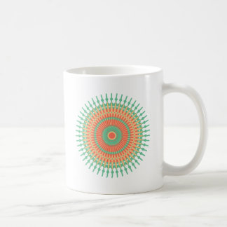 曼荼羅のデザインの緑、オレンジインディアン コーヒーマグカップ