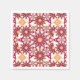 曼荼羅のパターン、珊瑚、モモ、白および灰色 スタンダードカクテルナプキン