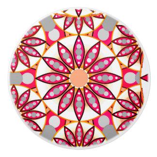 曼荼羅のパターン、珊瑚、モモ、白および灰色 セラミックノブ