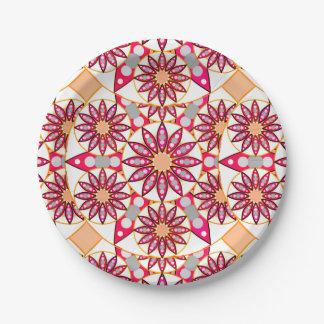 曼荼羅のパターン、珊瑚、モモ、白および灰色 ペーパープレート