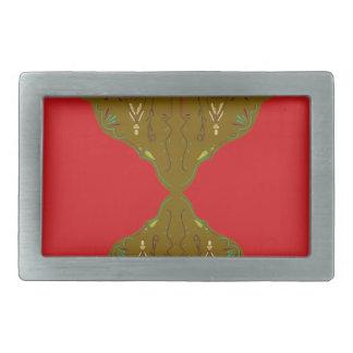 曼荼羅のブラウンの赤 長方形ベルトバックル