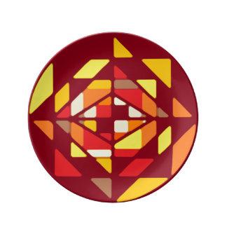 """曼荼羅のモザイク8.5""""磁器皿 磁器プレート"""