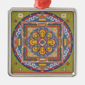 曼荼羅の正方形-緑 メタルオーナメント