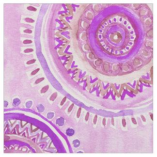 曼荼羅の考え方の紫色のBohoの水彩画パターン ファブリック