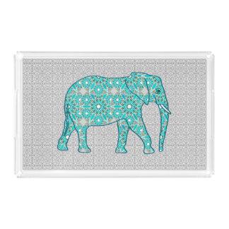 曼荼羅の花象-ターコイズ、灰色及び白 アクリルトレー