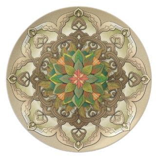 曼荼羅の葉のロゼットV2の装飾的なプレート プレート