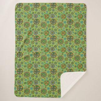 曼荼羅のSherpa緑の毛布 シェルパブランケット