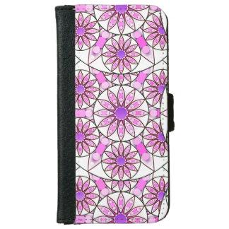 曼荼羅パターン、ラベンダー、ピンク、白いショッキングピンク iPhone 6/6S ウォレットケース