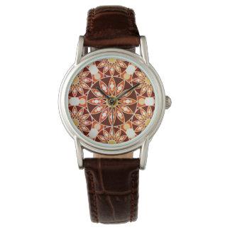 曼荼羅パターン、茶色、錆、ベージュ日焼け 腕時計