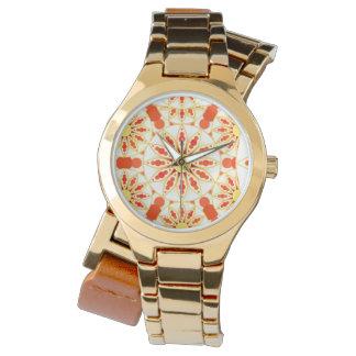 曼荼羅パターン、赤レンガ色、錆、金ゴールド 腕時計