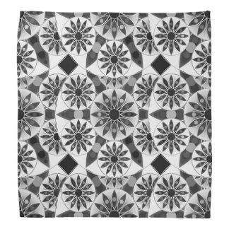 曼荼羅パターン、黒、白いおよび灰色/灰色 バンダナ