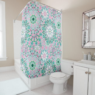 曼荼羅花パターンプリントが付いているシャワー・カーテン シャワーカーテン