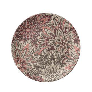 曼荼羅花パターンプリントが付いているプレート 磁器プレート