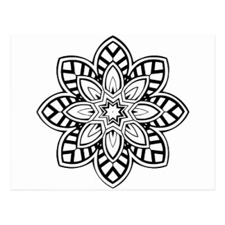 曼荼羅42のシェブロンの花 ポストカード