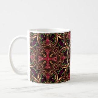 曼荼羅、万華鏡のように千変万化するパターンのタペストリーの十字の抽象芸術 コーヒーマグカップ