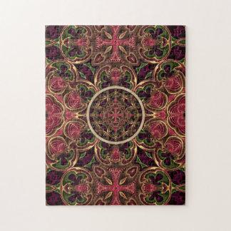 曼荼羅、万華鏡のように千変万化するパターンのタペストリーの十字の抽象芸術 ジグソーパズル