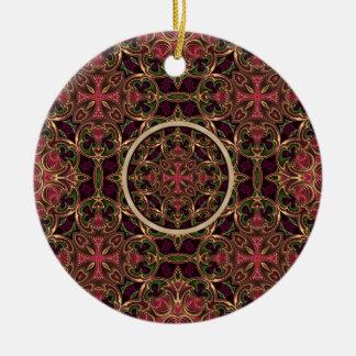 曼荼羅、万華鏡のように千変万化するパターンのタペストリーの十字の抽象芸術 セラミックオーナメント