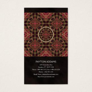 曼荼羅、万華鏡のように千変万化するパターンのタペストリーの十字の抽象芸術 名刺