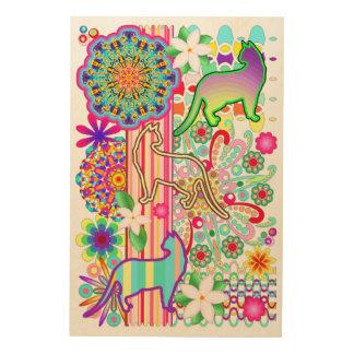 曼荼羅、猫及び花のファンタジーパターン ウッドウォールアート