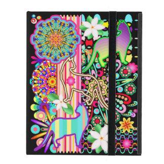 曼荼羅、猫及び花のファンタジーパターン iPad ケース