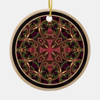 曼荼羅、目まぐるしい十字の抽象芸術 セラミックオーナメント
