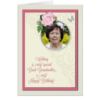 曾祖母は写真、バラとの誕生日を加えます グリーティングカード