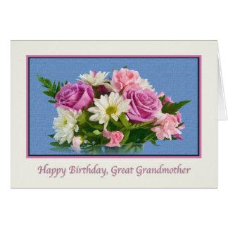 曾祖母、誕生日、花柄、バラ グリーティングカード