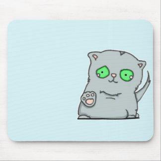 最もかわいい緑色の目の灰色の子ネコ マウスパッド
