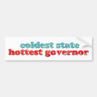 最も冷たい州、最も熱い知事のバンパーステッカー バンパーステッカー