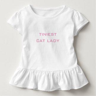 最も小さいBaby Top Cute Ruffle猫の女性ワイシャツ トドラーTシャツ