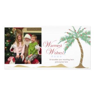 最も暖かい休日の願い、クリスマスのビーチのヤシの木 カード