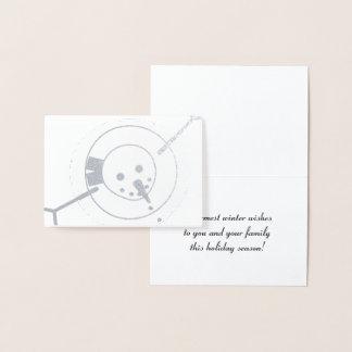 最も暖かい冬は雪だるまの挨拶状を望みます 箔カード