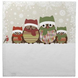 最も暖かい願いのフクロウ家族の布のナプキン ナプキンクロス