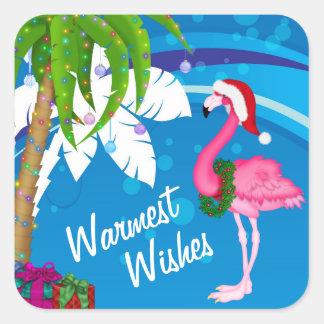 最も暖かい願いのヤシの木のフラミンゴのビーチのクリスマス スクエアシール