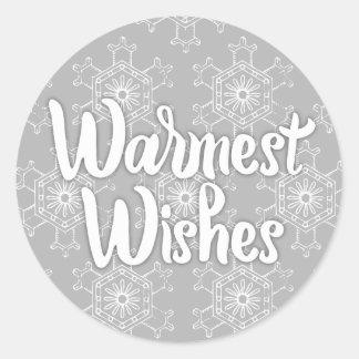 最も暖かい願いの休日の雪片のステッカー ラウンドシール