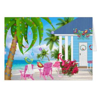 最も暖かい願いの鳥およびビーチハウスのクリスマス カード