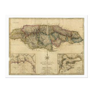 最も最近の調査の地図(1775年)からのジャマイカ キャンバスプリント