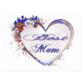最も最高のなお母さんのグランジな花のハートのギフト ポストカード