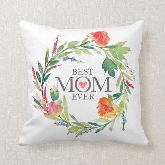 最も最高のなお母さんの常にカラフルの花のリース クッション