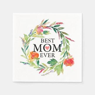 最も最高のなお母さんの常にカラフルの花のリース スタンダードカクテルナプキン