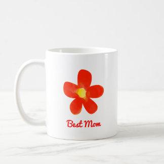 最も最高のなお母さんの水彩画の赤い花の白11のozのマグ コーヒーマグカップ
